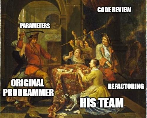 painting, meme, code review, original programmer vs his team